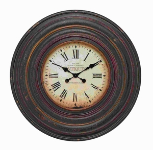 Wood Wall Clock in Vintage inspired Pattern and Dark Brown Finish Brand Woodland