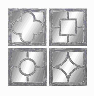 Wall Mirror Assorted Glass And Wood Construction (Set Of 4) - 54432 by Benzara