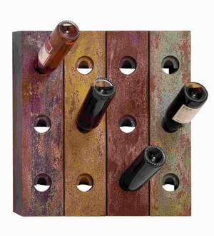 Wood Wall Wine Holder in Rustic Old Finish with 12 Bottle Holes Brand Woodland