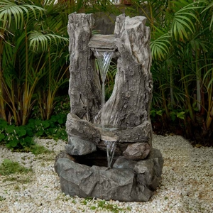 Wood Water Fall Water Fountain with Natural Wood-Like Appeal Brand Zest
