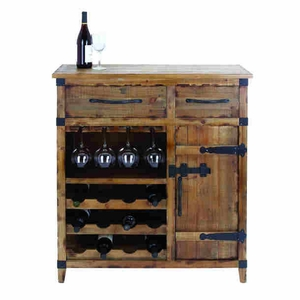 Wood Wine Cabinet with Shelves, Racks & Utility Drawers Brand Woodland