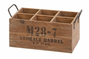 Wood Wine Crate Storage Barrel, 16 Inch x 8 Inch x 9 Inch Brand Woodland