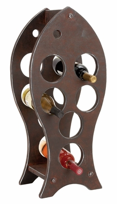 Wood Wine Rack in Dark Brown Finish with Fish Shaped Design Brand Woodland