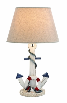 Wooden Anchor Table Lamp in White Shade with an On/Off Switch Brand Woodland