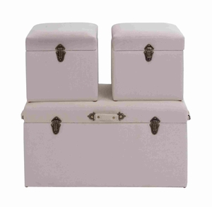 Wooden and Fabric Trunk to Store Household Items Set of 3 Brand Woodland