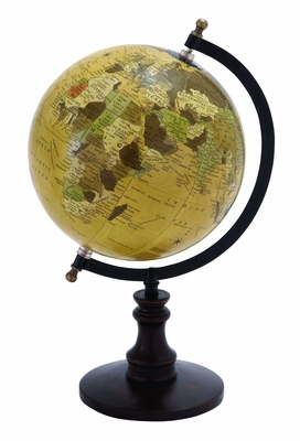 Sophisticated Wooden And Metal Globe With Black Base - 38117 by Benzara