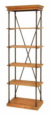 Wooden and Metal Shelf in Brown and Black Finish Brand Woodland