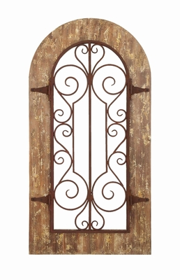 Wooden And Metal Wall Panel With Stately Design & Antiqued Look - 52748 by Benzara