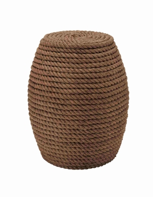 Wooden and Rope Oval Shaped Classy Stool Brand Benzara