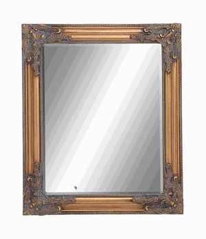 Wooden Beveled Rectangular Design Mirror in Natural Wood Finish Brand Woodland
