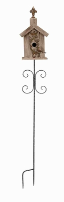 Wooden Birdhouse Stake Garden Decor with Antiqued Design Brand Woodland
