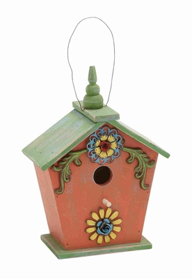 Wooden Birdhouse with Natural Texture in Pink and Green Brand Woodland