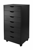 Wooden Black Halifax Cabinet for Closet/Office with Seven Drawers by Winsome Woods