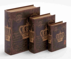 Wooden Book Box With Rich Design And Natural Texture (Set Of 3) - 55731 by Benzara