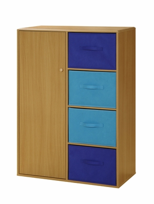Wooden Boys Chiffarobe with Four Blue Drawers by 4D Concepts