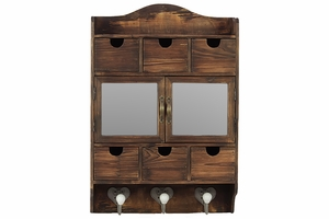 Wooden Cabinet with Dark Brown Color and Hooks at the Bottom
