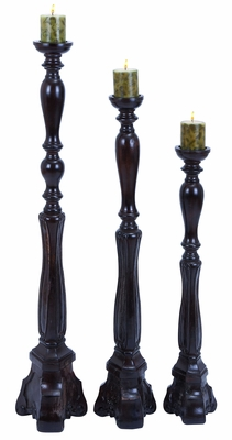 Wooden Candle Holder in Brown with Antique Finish - Set of 3 Brand Woodland