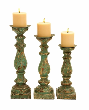 Wooden Candle Holder In Calming Green Finish - Set Of 3 - 52758 by Benzara
