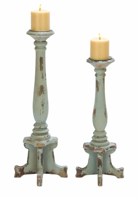 Wooden Candle Holder in Contemporaray Style - Set of 2 Brand Woodland