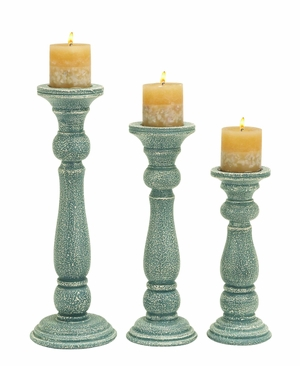 Wooden Candle Holder in Greenish White Finish (Set of 3) Brand Woodland