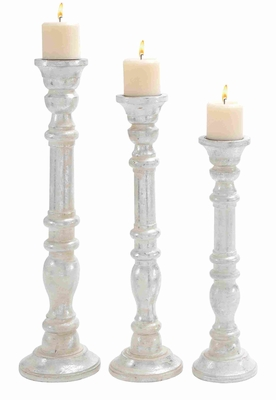 """Wooden Candle Holder with Carved Detailing 18"""" H Set of 3 Brand Woodland"""