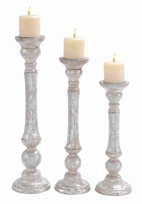 Wooden Candle Holder with Carved Detailing in Set of 3 Brand Woodland