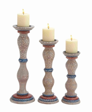 Wooden Candle Holder with Different Sizes in Green Set of 3 Brand Woodland