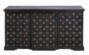 Wooden Console Cabinet with Three Doors and Ample Storage Space Brand Woodland