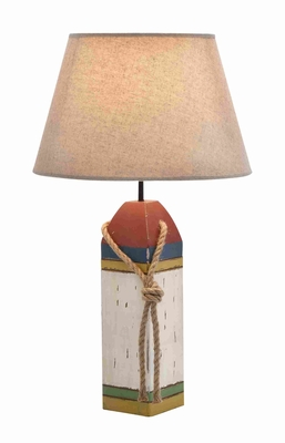 Wooden Cylindrical Shaped Buoy Table Lamp in Snow White Shade Brand Woodland
