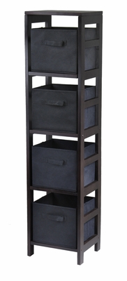 Winsome Wood Wooden Espresso Finish Four Tier Storage Open Shelf with 4 Foldable Black Baskets