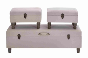 Wooden Fabric Trunk with Contemporary Style Set of 3 Brand Woodland