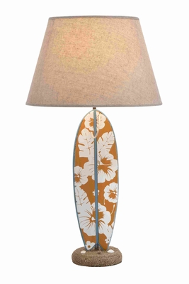 Wooden Floral Design Surfboard Table Lamp With Sturdy Base - 28752 by Benzara