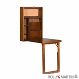 Wooden Fold-Out Convertible Desk with Storage Shelves by Southern Enterprises