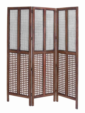 "Wooden Foldable and Portable Three Panel Screen in Brown 72"" H Brand Woodland"