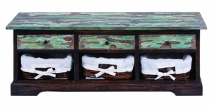 Wooden Foyer Bench with Patina Green Design -Mahogany Solid Wood Brand Woodland