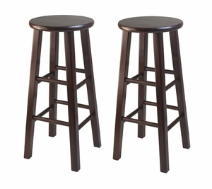 "Wooden Framed Two Smart 29"" Square Leg Bar Stools by Winsome Woods"