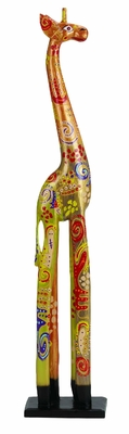 Wooden Giraffe Statue Sculpture Hand Painted in Multicolor Brand Woodland