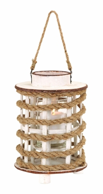 Wooden Glass Lantern with Rope Extension with Rustic Appearance Brand Woodland