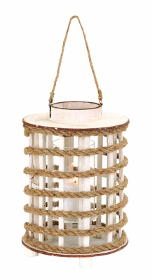 Unique Rope Extension Wooden Glass Lantern With Rustic Finish - 53168 by Benzara