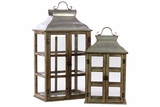 Wooden Glass Paneled Lantern w/ Metal Roof & Metal Handle Set of Two