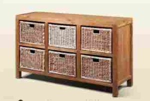 Wooden Hanna Baskets with Six Compartments in Brown Finish Brand Woodland