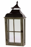 Wooden Lantern Designed w/ Cross Shaped Design & Metal Roof