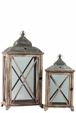 Wooden Lantern Set of Two Embellished w/ Crossed Design on Each Side of the Glass Panel