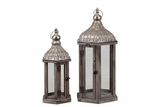 Wooden Lantern Set of Two w/ Beautifully Elaborated Metallic Roof