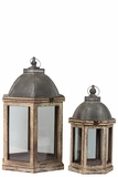 Wooden Lantern Set of Two w/ Magnificent Dome Shaped Top