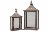 Wooden Lantern Set of Two w/ Traditional Eastern Designed Metal Roof