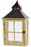 Wooden Lantern w/ Beautiful Black Metallic Roof