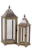 Wooden Lantern w/ Ethnic Design Metal Roof Set of Two