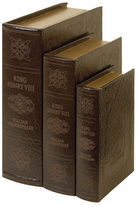 Wooden Leather Book Box in Dark Brown Finish - Set of 3 Brand Woodland