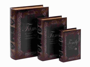 Wooden Leather Book Box with Dark Finish (Set of 3) Brand Woodland